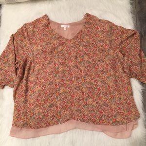 LC Lauren Conrad Pink & Multicolor Floral Blouse